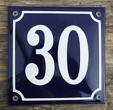FRENCH ENAMEL HOUSE NUMBER SIGN. WHITE No.30 ON A BLUE BACKGROUND 16x16cm.