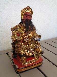 Dignitaire Chinois en bois polychrome
