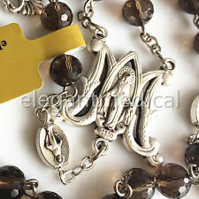 Smoky Quartz Beads 5 DECADE Catholic mary Rosary Crucifix gifts necklace Box