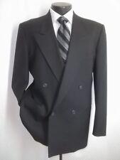 Yves Saint Laurent YSL Black Double Breasted Herringbone Wool Jacket Blazer 42 R
