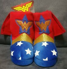 DC WONDER WOMAN TODDLER BOOT SLIPPERS GOLD GLITTER WITH CAPE SIZE 7-8, 9-10