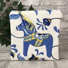 Swedish Dala Horse Blue White Dalahäst  Kurbits Zipper Pouch Makeup Bag Clutch