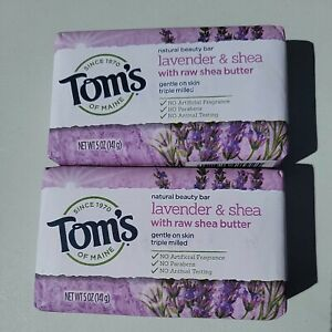 Tom's of Maine Bar Soap With Raw Shea Butter, Lavender Tea Tree 5 oz 2pk