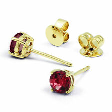 18 Carat Yellow Gold Ruby Stud Fine Earrings