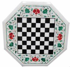 "18"" Marble Chess Game Table Top Pietra Dura Inlay Handmade Work"