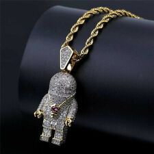Mens Iced Out Zircon Astronaut Hip Hop Necklace Pendant Chain Link Jewelry Gold