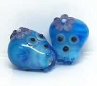 10pcs handmade Lampwork glass  Beads  15mm---blue skull