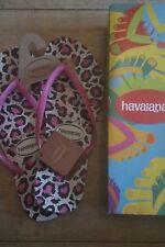 NEW Original Havaianas  Flip Flops Womens / Mens size UK 8/9 Animal Print Pink