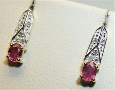 9ct Pink Sapphire Diamond  Earrings 9 Carat Yellow Gold Oval Cut Art Deco Style