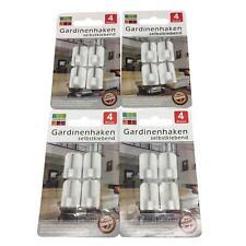 16 Gardinenhaken selbstklebend Klebehaken Scheibengardine Vitragestange in weiß