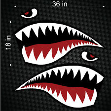 "Pair of 36"" Fighter Flying Tigers Shark Teeth Mouth w/ Eye Die-cut Vinyl Decals"
