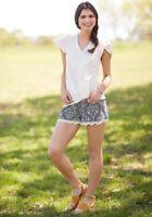 Matilda Jane Joanna Gaines Hello Darlin' Shorts Size Small NWT Women's Blue Lace