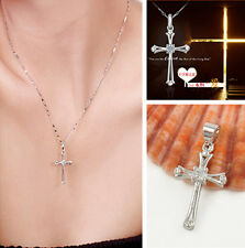 Chain Necklace Crystal Rhinestone Women Jewelry Silver Cross Pendant Chic Gift