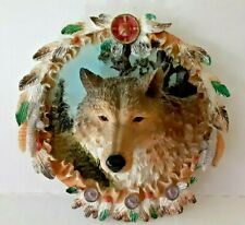 Wolf Ceramic Wall-Hanging 3D w/ Glass Eyes feathers Wild Animal Collectible