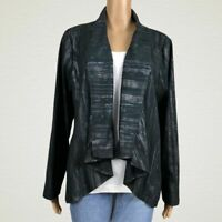 Sharon Young Waterfall Open Front Metallic Blazer Jacket LARGE Black Silver Gray