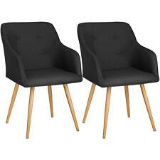 2x Chaise de design siège de bureau salon retro chef manger rembourré set noir