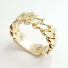 14K solid Yellow Gold Cuban link Ring Band fine gift jewelry 9.3g 7.6MM size 9.5