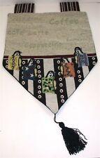 """(1) Tapestry Valance w/ 5"""" Tassel ~ Coffee & Cups Motif Multi ~ 13 W x 22 L NEW"""