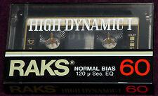 RAKS 60 HIGH DYNAMIC SEALED BLANK AUDIO ANALOG CASSETTE TAPE WITH HEAD CLEANER