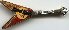 "Hard Rock Cafe SAN FRANCISCO 49ers Red & Gold ""V"" GUITAR PIN - HRC Catalog #8360"