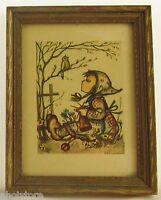 Hummel Print Happy Pastime Framed Wood Picture Frame Vintage