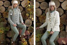 James C Brett Ladies Cable Cardigan Rustic Aran Yarn Knitting Pattern JB105