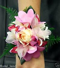 WEDDING FLOWER BRIDAL WRIST CORSAGE ORCHID ROSE FRANGIPANI  LATEX SILK FLOWERS