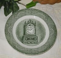 "Vintage Old Curiosity Shop Green 6-1/4"" plate clock currier & ives #10-25"