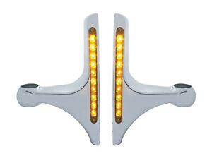Pair Headlight Brackets for Peterbilt Hood Side Headlamps - L-Shape w/ Amber LED