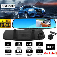 4.3'' LCD Car Camera Mirror DVR Vehicle Camcorder Monitor Dash Cam With SD Card
