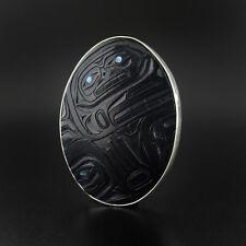 Haida Argillite Pendant with Abalone Inlays Silver Bezel Setting