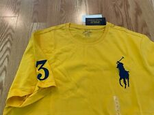 Polo Ralph Lauren classic big pony #3 patch t shirt yellow navy blue PRL cotton