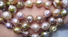 """11-12mm south sea multicolor pearl necklace 18"""" 14K Natural Jewelry Cultured"""