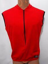 Borah Mens L Ripstop Red Sleeveless Bike Cycling Jersey 3/4 Zipper