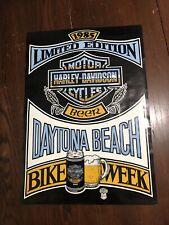 Vintage Harley-Davidson Beer Daytona Beach Bike Week 1985 Poster 17 in x 24 in