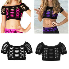 Girl Kid Black Hollow Out Crop Top Short Sleeve Blouse Gym Dance T-shirt Clothes