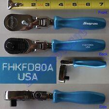 "New Snap On 3/8"" Stubby Pearl Blue Hard Handle Ratchet Sealed Flex Head FHKFD80A"