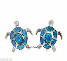 Incrustación Ópalo PESADO PLATA DE LEY 925 HAWÁI Sea Turtle Tacha Pendientes