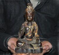 Old China Buddhism temple bronze Gilt Kwan-Yin GuanYin Bodhisattva Buddha statue