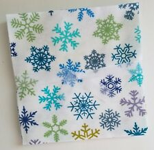 "Bundle of 14 ~ 6.5"" Flannel Fabric Pre-Cut Quilt Squares  ~ Snowflakes"