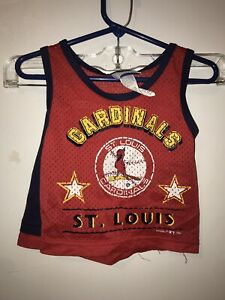 St Louis Cardinals Tank Top and Shorts Set Boys 18 Months 1980s Logo Red Blue