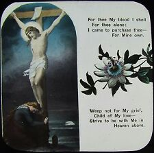 Glass Magic Lantern Slide CHRISTIAN RELIGIOUS TEXT NO11 C1900 WITH FLOWERS
