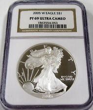 2005 W American Proof Silver Eagle NGC PF69 Ultra Cameo Gem++ Dollar