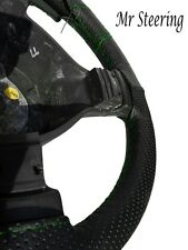 PERFORATED LEATHER STEERING WHEEL COVER GREEN STITCH FOR MERCEDES ACTROS 3 07-11
