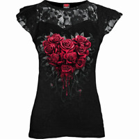 Spiral Direct BLEEDING HEART Womens, Goth, Rose, Lace Layered Cap Sleeve Top/Tee