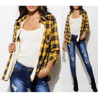 NEW Yellow Casual Button Down Long Sleeve Sherpa Fur Lined Plaid Flannel Jacket