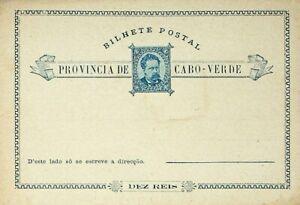 CAPE VERDE PORTUGUESE COLONY 10 REIS FINE UNUSED BILHETE POSTCARD
