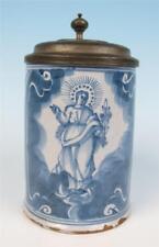 18thC Nuremberg Faience Tankard Madonna & St. Anthony Medal Antique German Stein