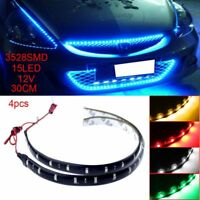 4pcs 12V 30cm 15LED 3528 SMD Waterproof Silicone Car Auto Flexible Strip Lights