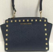 NEW Michael Kors Medium Selma Gold Studs Navy Saffiano Leather Crossbody Handbag